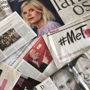 Et udklip af avisers dækning af #metoo - september 2020. Fotocollage: Innovator Q