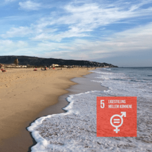 Strand med fns 5verdensmål logo