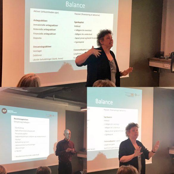Anette Sand og Birger Carlsen fra Regnskabsskolen holder HIP-workshop i den sidste uge af iværksætterprogrammet.