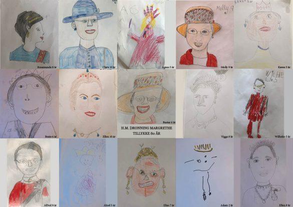 Børnetegninger af Dronning Margrethe i anledning af hendes 80 års fødselsdag.