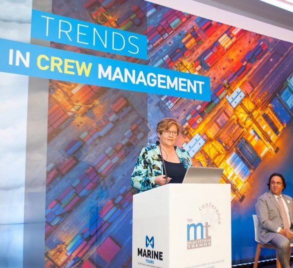 Helle Andsbjerg til konference om tendenser indenfor crewing (bemanding af skibe) i Athen.  Foto: privat